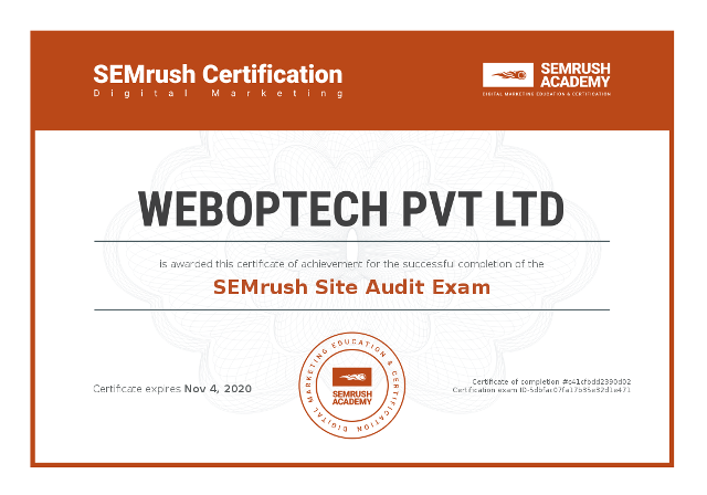 Certificate-semrush-site-audit-exam