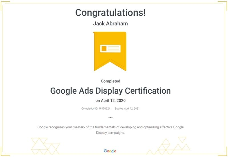 Google Display Ads Certification - WEBOPTECH