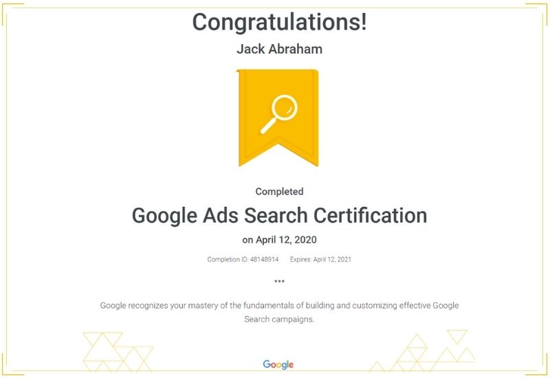 Google Search Ads Certification - WEBOPTECH